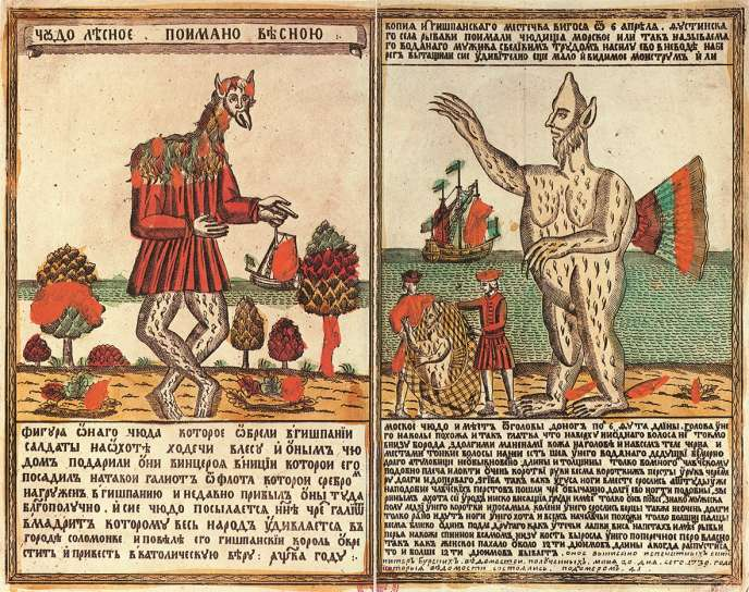 Un monstre sylvestre et un monstre marin. Loubok (gravure sur bois) du XVIIIe siècle.
