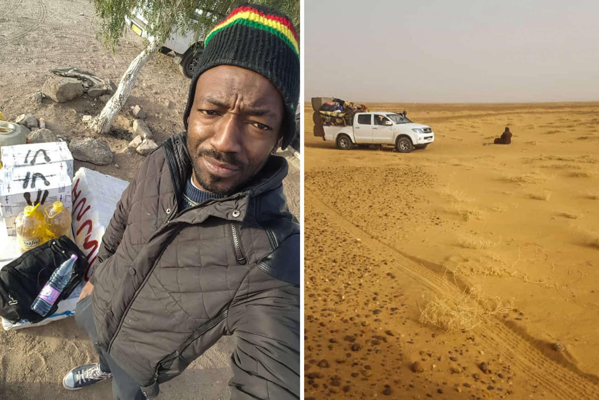 Rodrigue a photographié son retour au Cameroun et la traversée du désert. Là, la frontière entre l'Algérie et le Niger, en mars 2019.