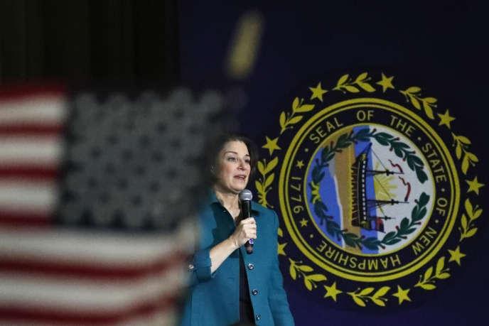 Amy Klobuchar en meeting à Exeter dans le New Hampshire, lundi 10 février.