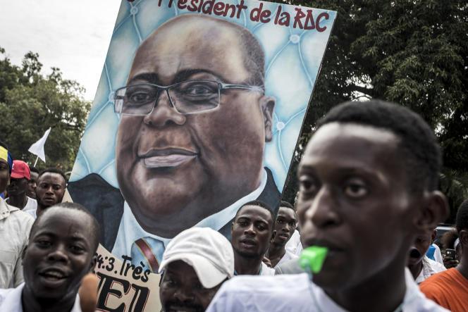 Partisans du nouveau président élu, Felix Tshisekedi, le 24 janvier 2019, à Kinshasa, en République démocratique du Congo.