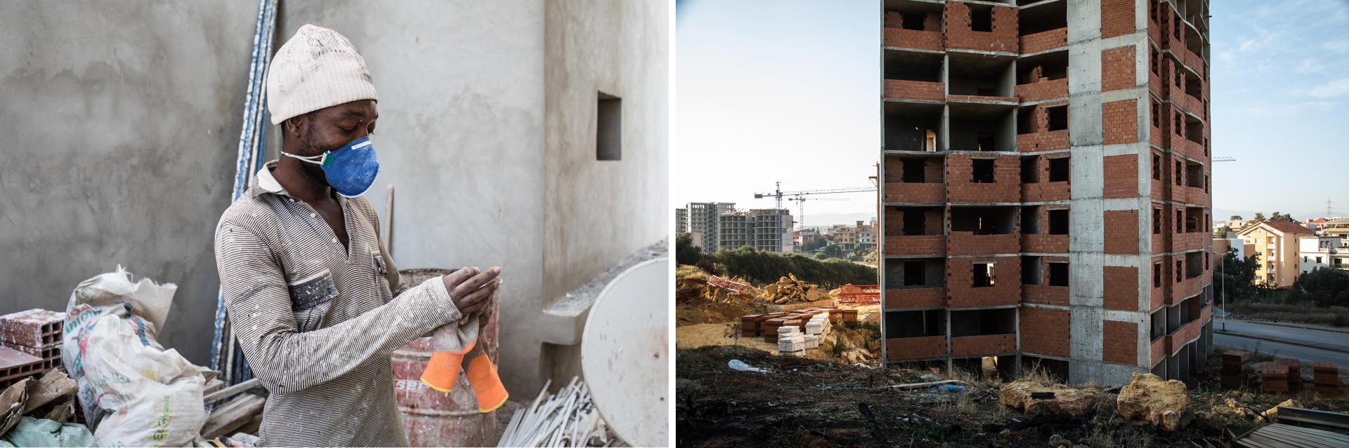 Draria, décembre 2017. Une nouvelle ville est en construction dans cette banlieue au sud-ouest d'Alger. Ici, la plupart des ouvriers sont, comme Rodrigue, des travailleurs journaliers, souvent des migrants en route pour l'Europe.