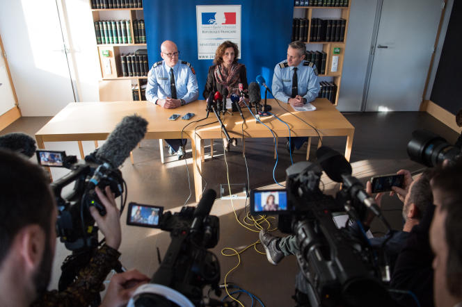 La procureure de Lorient, Laureline Peyrefitte, lors d'une conférence de presse surle cas de Joël Le Scouarnec, le 20décembre 2019.