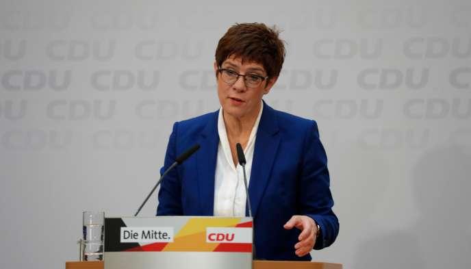 Annegret Kramp-Karrenbauer lors d'une conférence de presse au siège de la CDU, le 10 février, à Berlin.