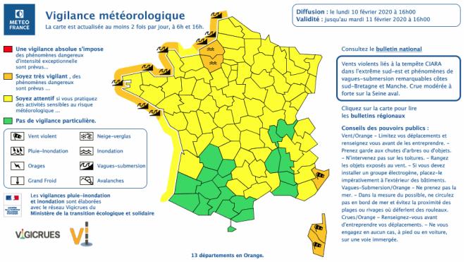 Carte de vigilance de Météo France du lundi 10 février à 16 heures.