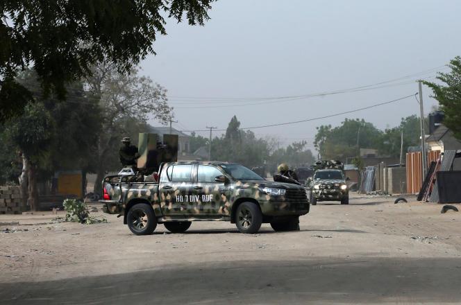 Une patrouille de l'armée nigériane à Maiduguri, capitale de l'Etat du Borno, en février 2019.