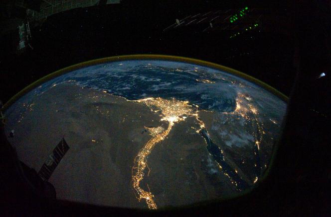 La vallée et le delta du Nil vus depuis la station spatiale internationale, en octobre 2010.