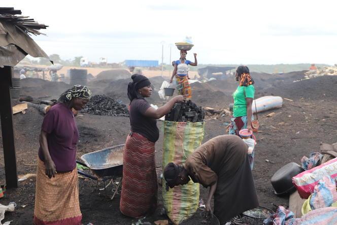 Awa Diabaté (au centre), remplissant un sac de charbon de bois, et des charbonnières à l'entrée de la ville de San Pedro, la métropole du sud-ouest ivoirien, en février 2020.