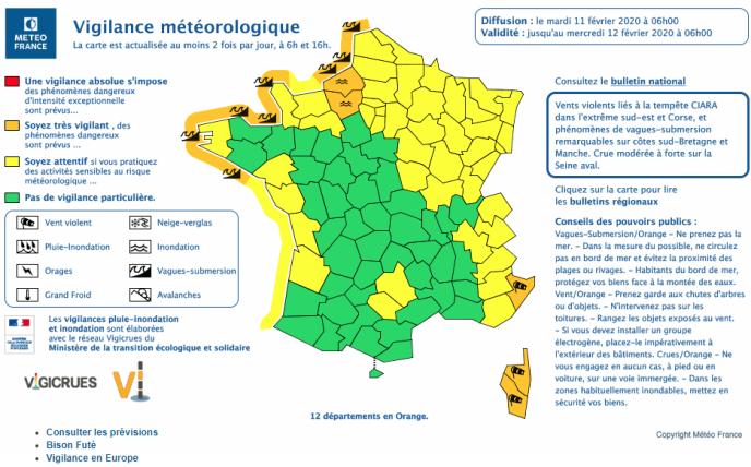Bản tin Météo-France 6 giờ, thứ ba ngày 11 tháng 2.