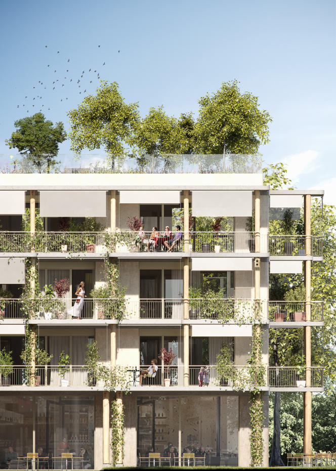Vue d'artiste d'un immeuble qui sera construit sur la commune de Plan-les-Ouates, près de Genève, par la coopérative « La Bistoquette », avec le cabinet d'architecture ATBA. Playtime