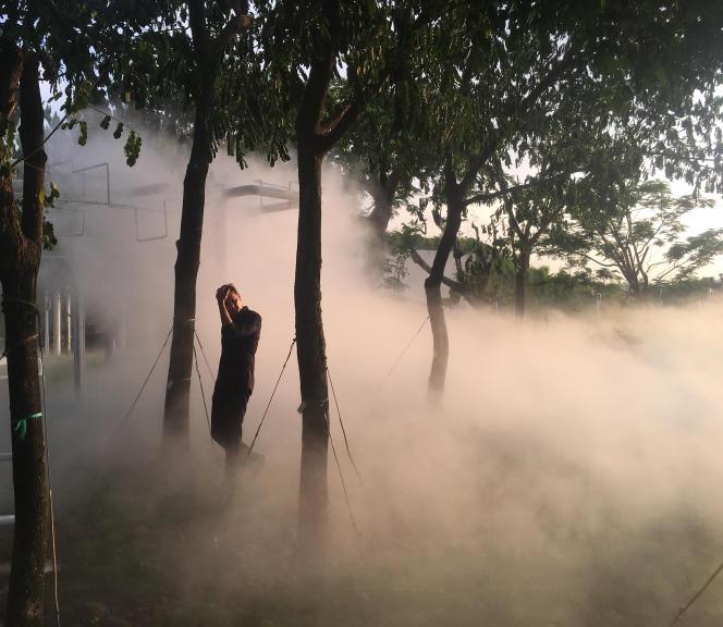 Philippe Rahm dans le« Meteorological Garden» du CentralPark de Taichung (Taïwan).