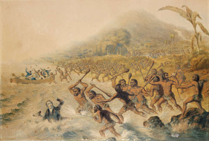 « Le Massacre du regretté missionnaire le révérend J. Williams et de M. Harris », à Vanuatu, en 1839. Illustration de George Baxter, 1841