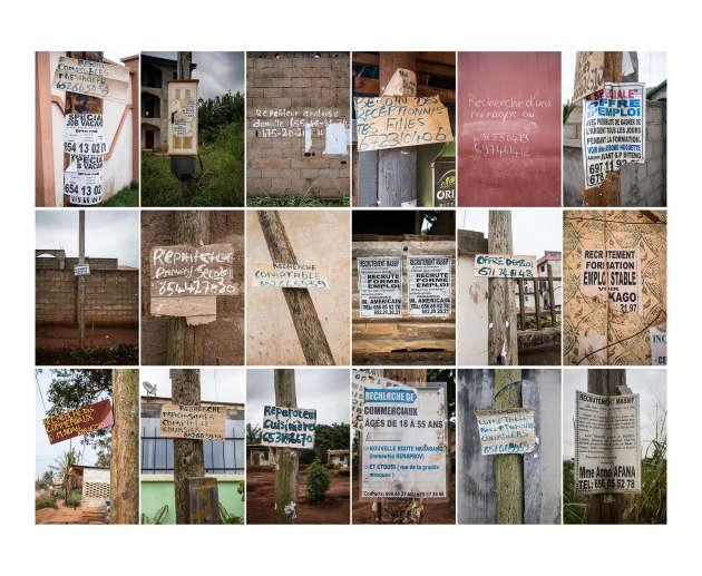 Offres d'emploi recensées dans plusieurs quartiers de Yaoundé. «Ces boulots sont souvent très mal payés, quand ce ne sont pas des arnaques», explique Rodrigue.
