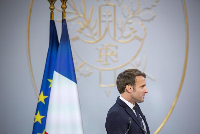 Emmanuel Macron, président de la République, participe à la cérémonie des vœux à la presse, à l'Elysée, à Paris, le 15 janvier.