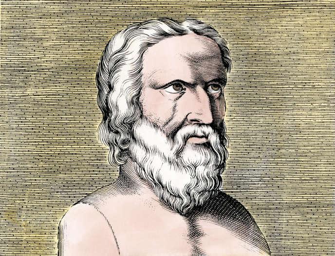 Héraclite d'Ephèse (vers 576-480 av. J.-C.). Lithographie duXIXe siècle.
