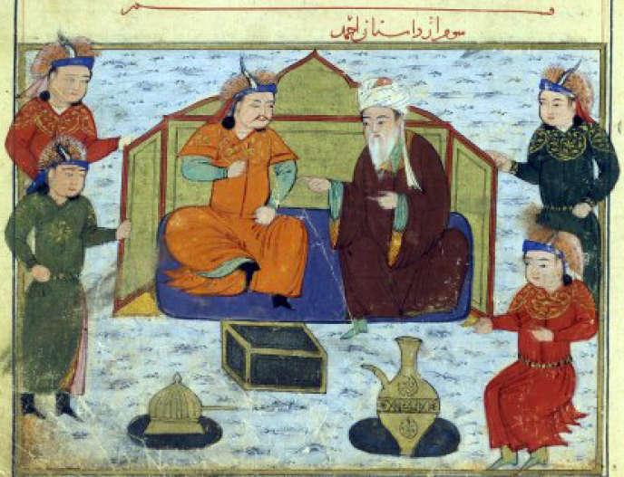 Miniature représentanr le prince mongol Ahmad Teküder en conversation avec le savant musulman Shams Al-Din Juwayni, qui fut à Bagdad le protecteur du savant juif Ibn Kammuna.
