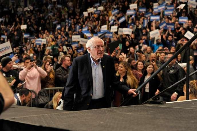 Bernie Sanders, lors d'un meeting de campagne à Durham (New Hampshire), le 10 février.