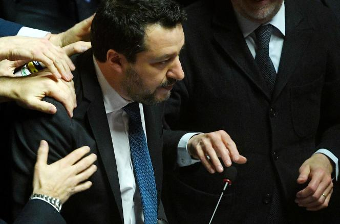 Matteo Salvini, le 12 février 2020, devant le Sénat, à Rome.
