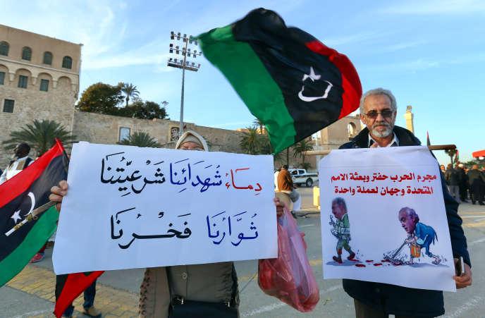 A Tripoli,le 24 janvier 2020, manifestation de soutien au « gouvernement d'accord national» (GAN) représenté par Faïez Sarraj.