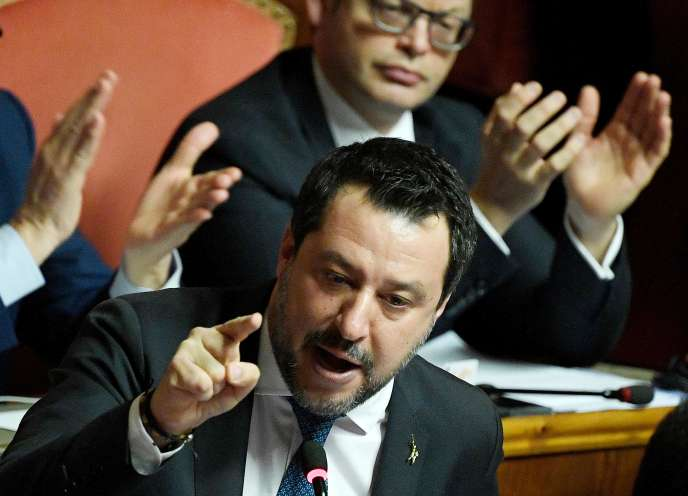 MatteoSalvinidéfend les choix qu'il aopérésà l'été 2019 devant le Sénat italien, à Rome, le 12 février.
