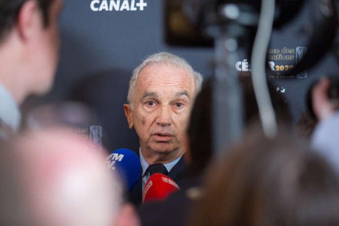 Alain Terzian, le 29 janvier, au restaurant le Fouquet's à Paris,lors de la conférence de presse de la 45e cérémonie des Césars.