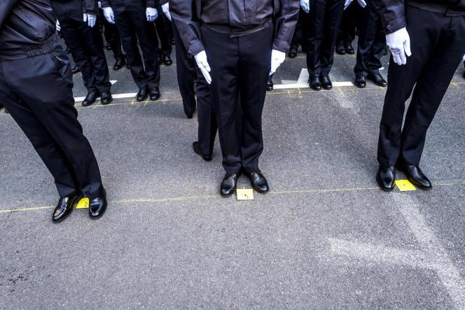 Cérémonie d'accueil des gardiens de la paix issus des 247e et 248e promotions à la préfecture de police de Paris, en décembre 2018.