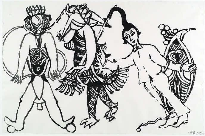 «Tu vas avec l'appui des êtres incommodes», dessin à l'encre de Chine de Jean-Claude Silbermann.