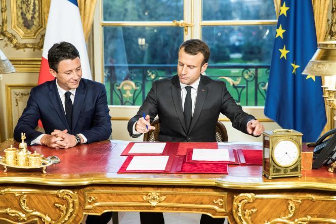 Emmanuel Macron et Benjamin Griveaux, quand il était porte-parole en 2017.