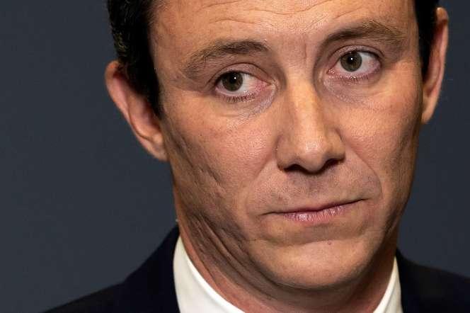 Benjamin Griveaux annonce son retrait à la candidature de la mairie de Paris, dans les bureaux de l'AFP, le 14 février.