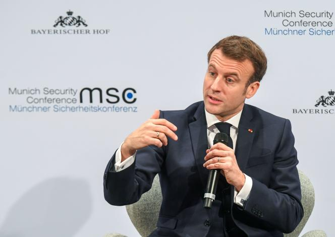 Emmanuel Macron lors de la 56e conférence de Munich sur la sécurité, samedi 15 février.