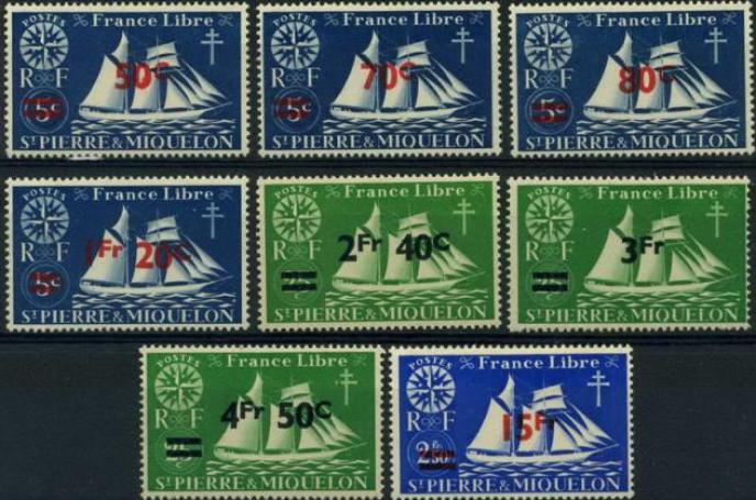 Série surchargée de Saint-Pierre-et-Miquelon (1945).