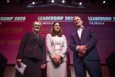 De gauche à droite, les candidats à la succession de Jeremy Corbyn, Rebecca Long-Bailey, Lisa Nandy et Keir Starmer, le 15 février à Glasgow.