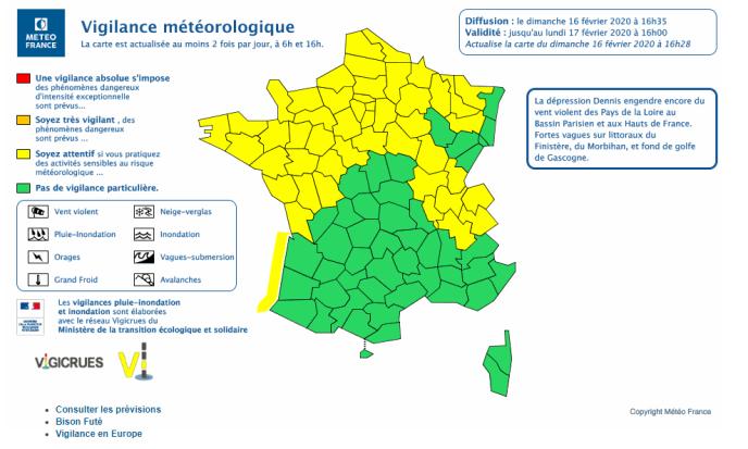 En début de soirée dimanche, plus aucun département n'était placé en vigilance orange par Météo-France.