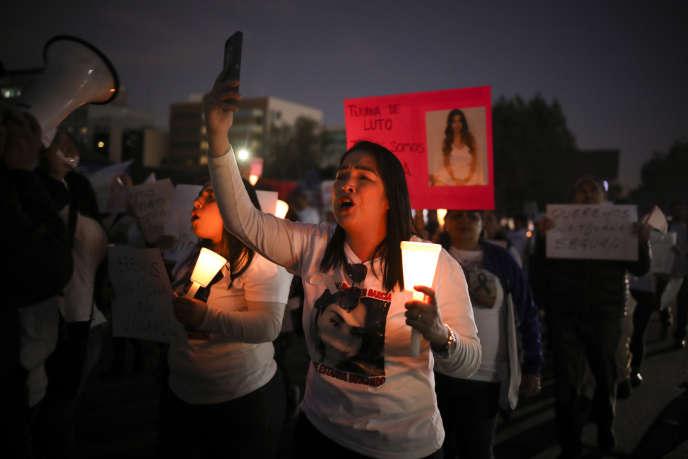 Marche contre les violences de genre à Tijuana, Mexique, le 15 février, une semaine après la mort d'Ingrid Escamilla.