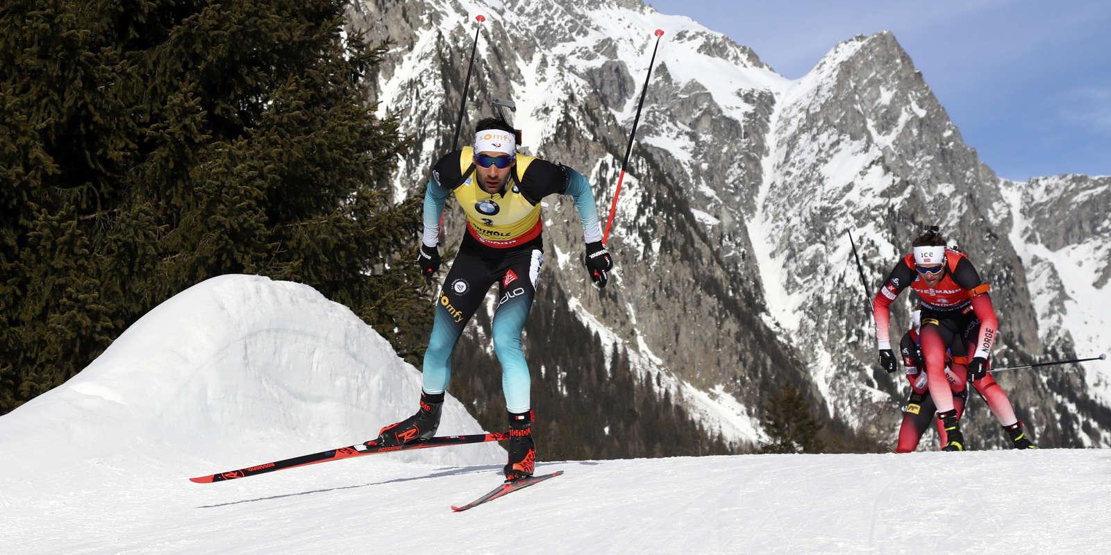 Martin Fourcade et Tarjei Boe, sur la poursuite d'Antholz, le 16 février 2020.