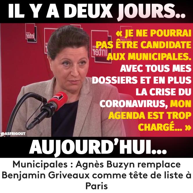 Capture d'écran d'un photomontage réalisée par une membre de Debout la France sur Facebook dénonçant le revirement d'Agnès Buzyn.