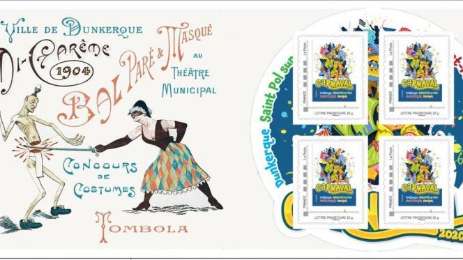 Collector de quatre timbres sur le carnaval de Dunkerque. Premier tirage de 400 exemplaires.