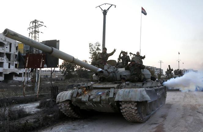 Les forces syriennes dans la région d'al-Lirmoun, au nord d'Alep, lundi 17 février 2020.