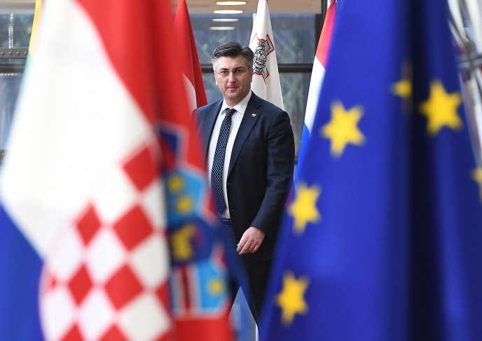 Le premier ministre croate Andrej Plenkovic au Conseil de l'Europe à Bruxelles, le 14 février 2018.
