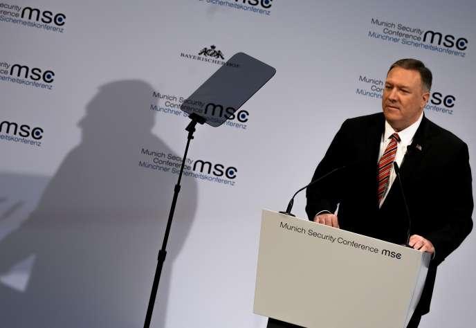Le secrétaire d'Etat américain, Mike Pompeo, lors de la conférence de Munich, le 15 février.