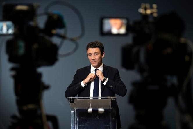 Benjamin Griveaux, à l'annonce du retrait de sa candidature à la mairie de Paris, le 14 février.