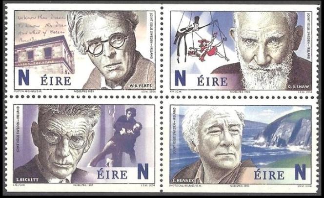 Une série de timbres sur les Prix Nobel de littératutre irlandais parue en 2014.