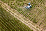 Un cultivateur pulvérise un insecticide sur ses vignes, le 26 avril 2018 àVertou près de Nantes.