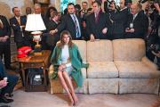 Melania Trump, le 12 février, à la Maison Blanche, pendant que son époux Donald Trump s'entretient avec le président équatorienLenin Moreno.
