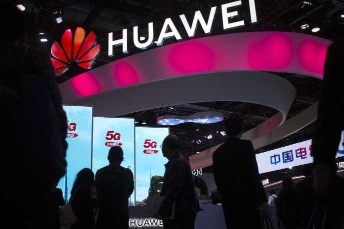 Le stand de l'entreprise chinoise Huawei lors du Salon PT Expo à Pékin, enoctobre2019.
