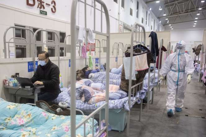 Un centre d'exposition transformé en hôpital à Wuhan, dans la province centrale du Hubei, en Chine, le 17 février.