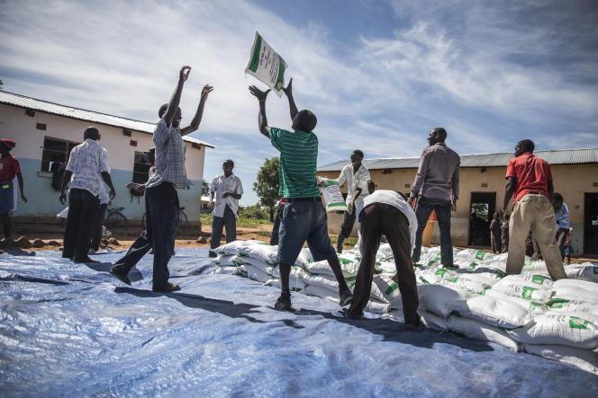 Des volontaires distribuent de l'aide alimentaire à Simiumbwe, en Zambie, le 22janvier 2020.