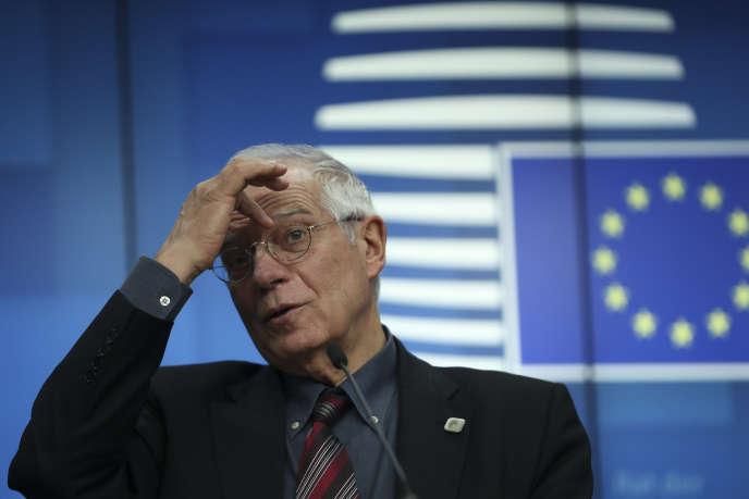 Josep Borrell, haut représentant de l'Union pour les affaires étrangères et la politique de sécurité, lors d'une conférence de presse à Bruxelles, le 17 février.