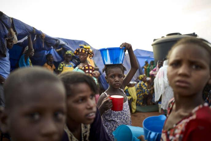 Dans un camp de déplacés à Faladié, un quartier de Bamako, au Mali, en mai 2019.