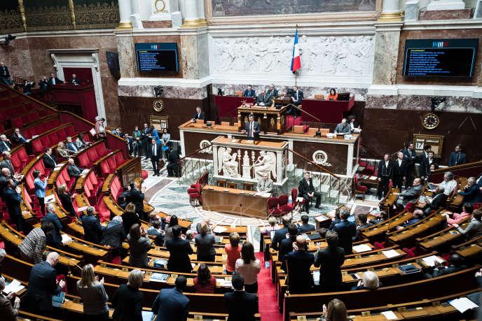 Premier jour de discussion a l'Assemblee nationale du projet de loi relatif au système universel de retraite. Le ministre des Solidarites et de la Santé, Olivier Veran prend la parole au pupitre, lundi 17 févrirer.
