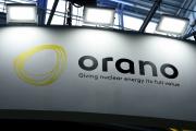 Le logo du groupe Orano lors du salon mondial du nucléaire, à Villepinte, en 2018.